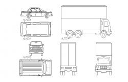Multiple luxuries cars and truck elevation blocks details dwg file