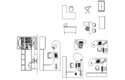Multiple office furniture and desk blocks cad drawing details dwg file