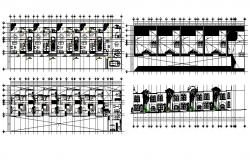 Multiple residential building main elevation, plan and auto-cad details dwg file