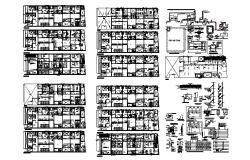 Multiple residential housing building floor plan and construction details dwg file