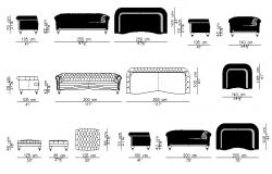 Multiple sofa set blocks cad drawing details dwg file
