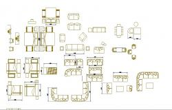 Multiple sofa sets, beds and furniture blocks cad drawing details dwg file