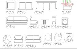 Multiple sofa sets and furniture blocks auto-cad details dwg file