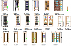 Multiple style house doors architecture project dwg file