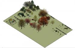 Multiple tree and plants blocks 3d landscaping structure details dwg file