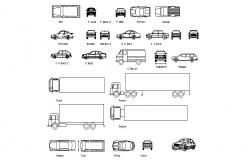 Multiple trucks, cars and vehicle blocks cad drawing details dwg file