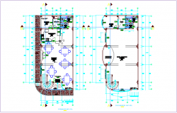 Multiple use room first and second floor plan dwg file