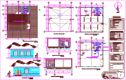 Multiple uses room plan,elevation with electrical and sanitary view dwg file