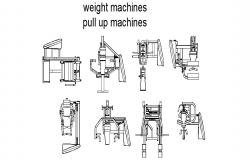 Multiple weight machines and pull ups machine blocks cad drawing details dwg file