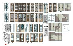 Multiple wooden doors and window blocks cad drawing details dwg file