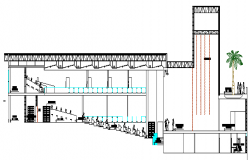 Multiplex Theater Architecture Design and Elevation dwg file