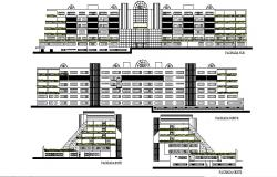Multistorey building design with elevation in dwg file
