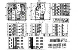 Multistorey residential apartment with detail dimension in autocad