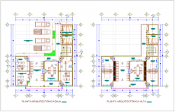 Municipal agency high and low plan with architectural view dwg file