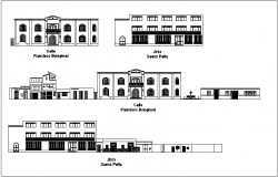 Municipal building elevation with different axis dwg file