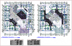 Municipal building first and second floor plan with door and window detail dwg file