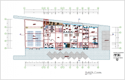 Municipal building first floor plan architectural view dwg file