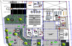Municipal building landscaping with structural layout dwg file