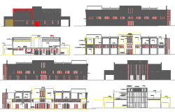 Municipal market all sided elevation and section details dwg file