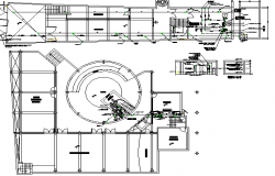 Municipal office building cut section with structural layout plan dwg file