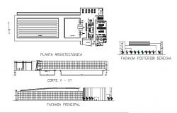 Municipal swimming pool building elevation, section and plan details dwg file