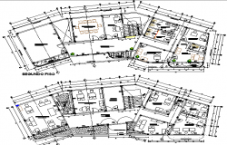 Municipality building ground and first floor plan layout details dwg file