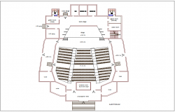 Museum auditorium plan with architectural view dwg file