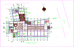Music school plan design view dwg file