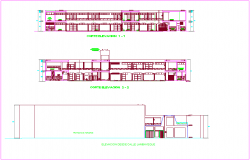 Music school sectional elevation view dwg file