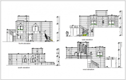 North,south,east and west side elevation for house with architectural view dwg file