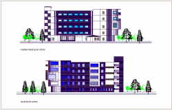 North west and east elevation view of school of architecture dwg file