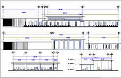 Nursery school elevation and section view dwg file