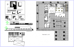 Nursery school plan,elevation and sectional view with construction view dwg file