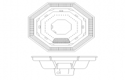 Octagonal shape sinks detail elevation 2d view layout autocad file