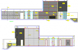 Office 2d elevation containing material concrete detailing dwg file