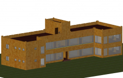 Office 3d building plan elevation view dwg file