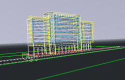 Office Building Plan Elevation and Model Design dwg file