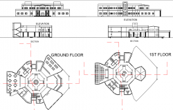 Office Plan, elevation and section working plan detail dwg file