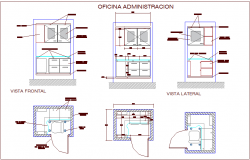 Office admin area with furniture of cabinet ant door view dwg file