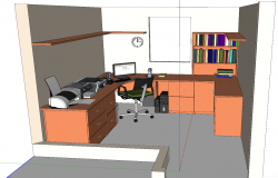 Office administration 3d view skp file