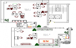 Office architecture layout plan of commercial building details dwg file