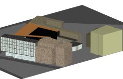 Office building 3d view with wall and column view dwg file