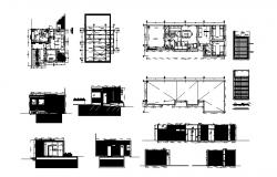 Office building elevation, section and distribution plan details dwg file