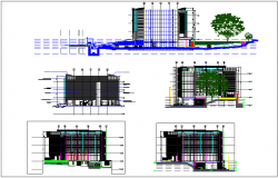 Office building elevation and section view dwg file