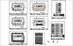 Office building floor plan,elevation and section view dwg file