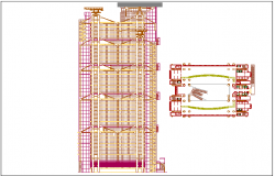 Office building floor plan and elevation view dwg file