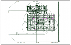 Office building floor plan detail with balance sheet data dwg file