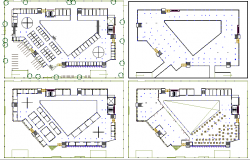 Office building floor plan layout details of four floors dwg file