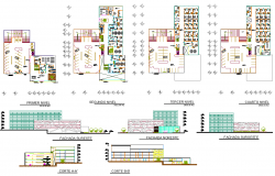 Office building plan elevation detail view dwg file
