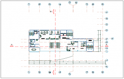 Office building plan view of ground floor detail dwg file